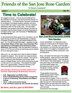 Friends of the San Jose Rose Garden Newsletter #7
