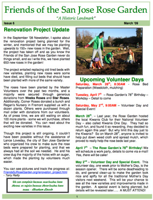 Friends of the San Jose Rose Garden Newsletter #6