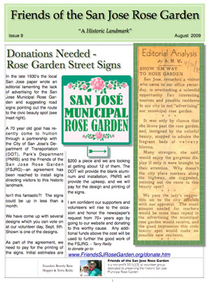 Friends of the San Jose Rose Garden Newsletter #9