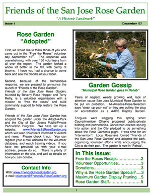 Friends of the San Jose Rose Garden Newsletter #1